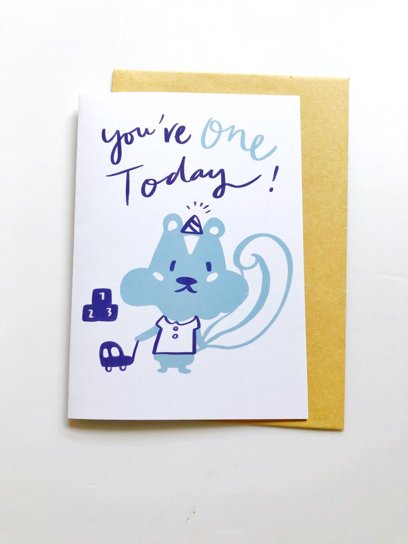 Birthday card, baby birthday card, one year old, little squirrel wearing a birthday hat