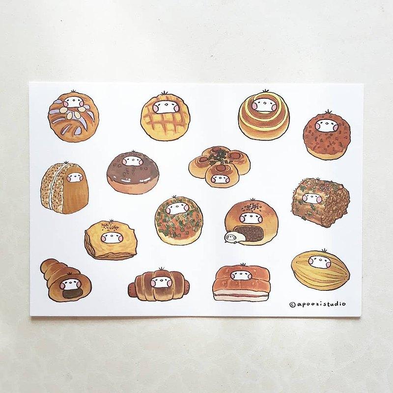 台灣麵包籽 插畫 明信片 卡片