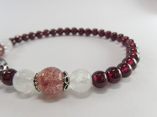 Purple Music - Advanced Natural Purple Tooth Red Pomegranate Red Amethyst Blue Moonstone Sterling Silver Bracelet