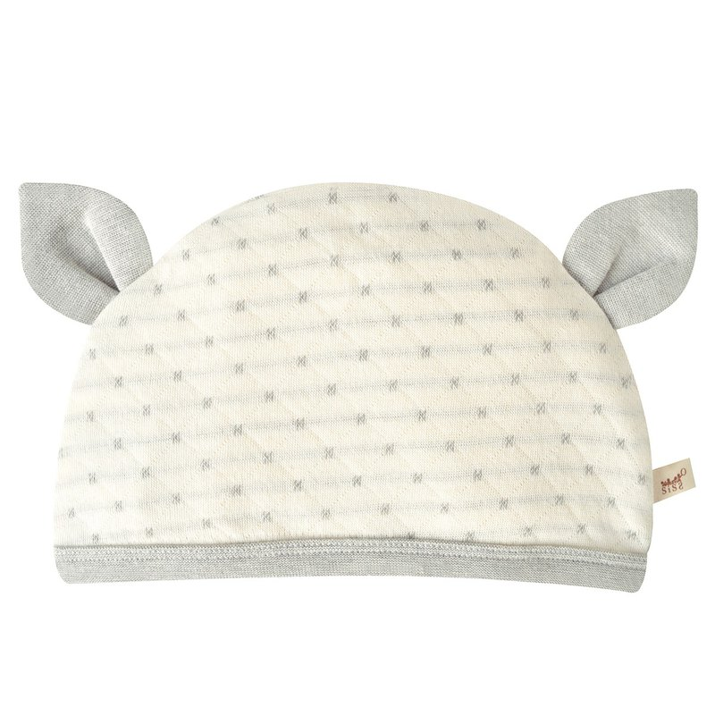 [SISSO organic cotton] deer gray rice double weaving baby hat (dots)
