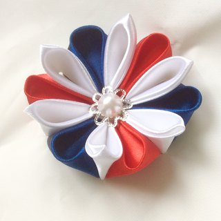 Red white blue kanzashi flower. Red white blue ribbon flower lapel pin. Red white blue kanzashi flower lapel pin. kanzashi flower brooch.