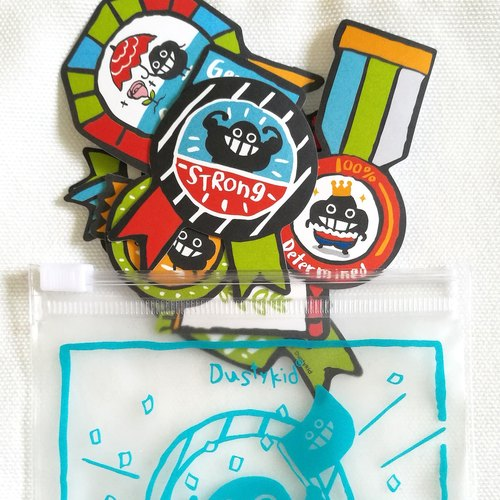 Dustykid bagging dust sticker combination - Embrace all good qualities