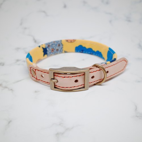 Dog Collars, M size, Yellow happy forest_DCT090449
