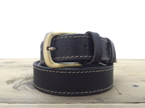 Black cow leather belt rubbing planting / お parent san Hikaru ド の べ
