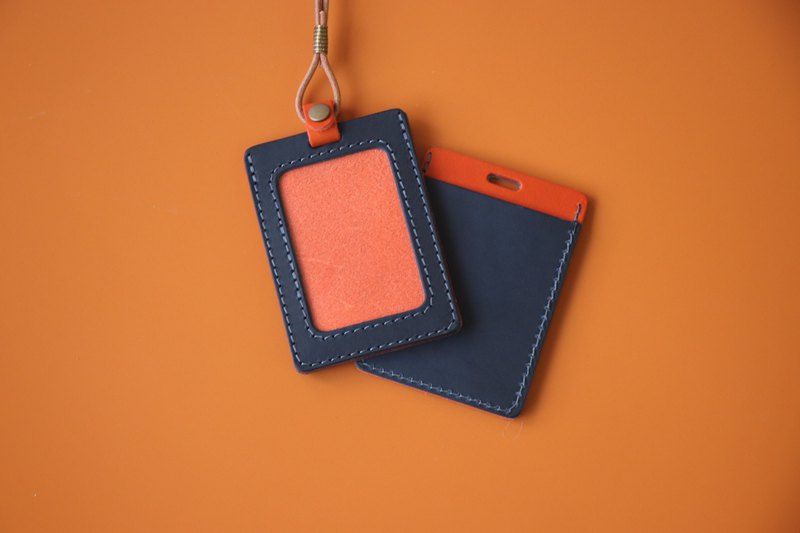 [Christmas gift] orange blue contrast color | double vegetable tanned leather identification card set | GOGORO card sets