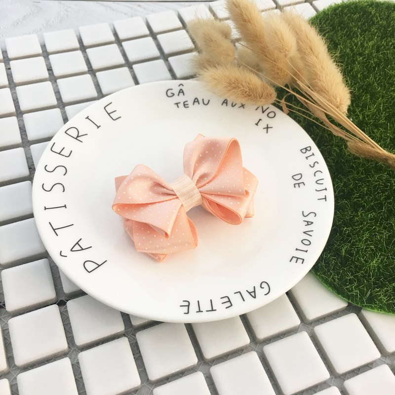 W & C Handmade || Innocent Age || Pink Orange + Dot Hair Clip