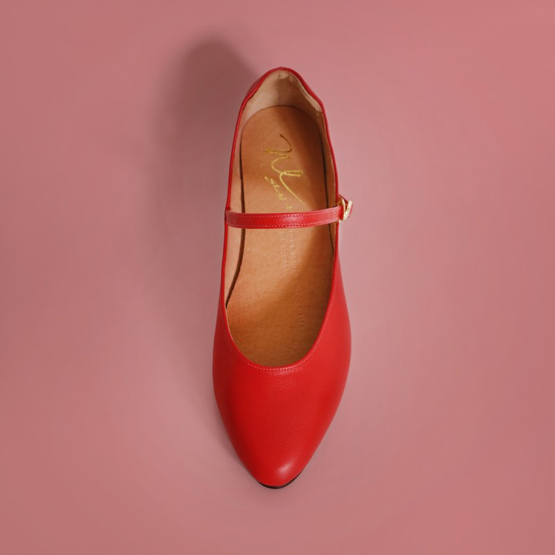 WL Mary Jane (Red) Red Low Heels-Exclusive to Pinkoi