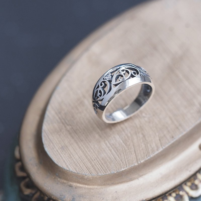 Arabesque watermark ring 925 silver