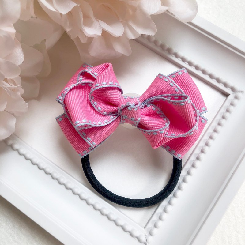 Jumper ribbon multi-layer bow / pink
