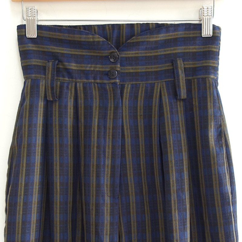 │Slowly│Dark blue plaid - vintage high waist pants │vintage. Retro. Literature