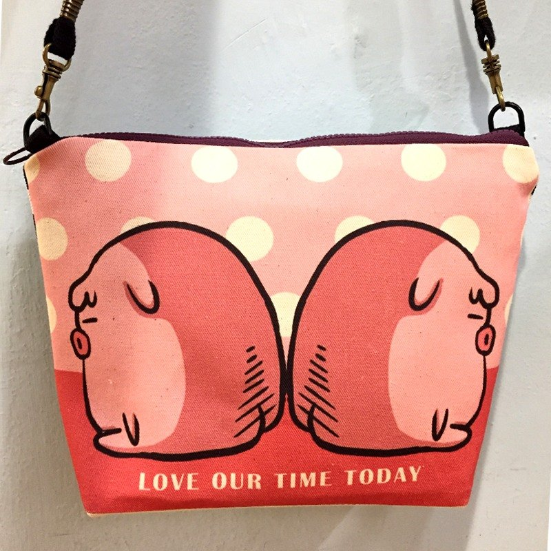 Back to back QQ pig side back pouch / shopping bag / school bag / carry bag / Wen Qing / class canvas / gift / shoulder /