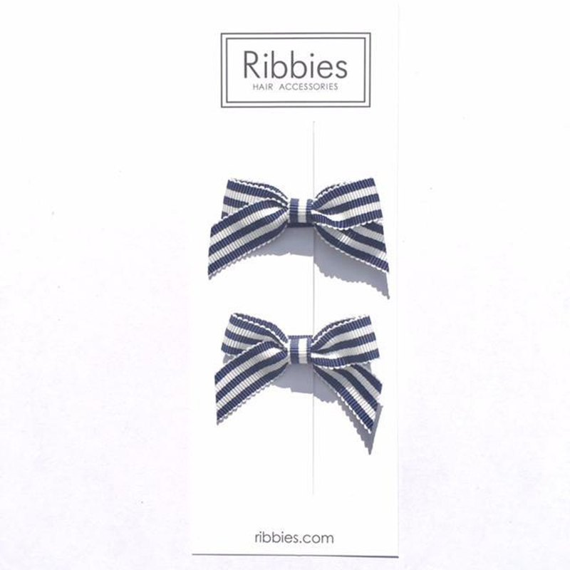 British Ribbies Classic Bow 2 Entries - Blue and White Stripes A