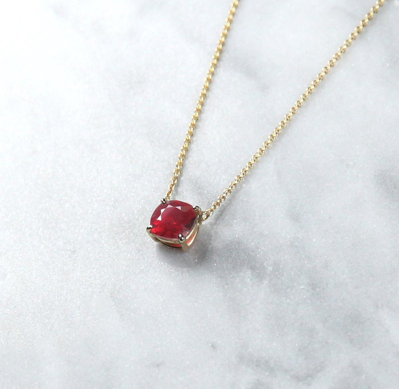 [Exclusive] Natural Ruby Spinel 14K Necklace Natural Color Gem Clavicle Chain Customized
