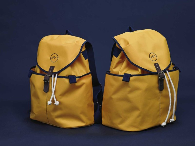 Handcrafted in Spain | Ölend Ringo MINI Waterproof Nylon | Drawstring Backpack / Computer Bag (Mustard Mustard Yellow)