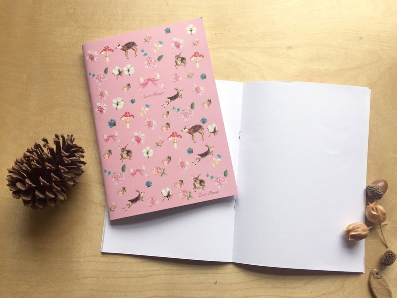 """Zoe's forest"" pink deer blank notebook"