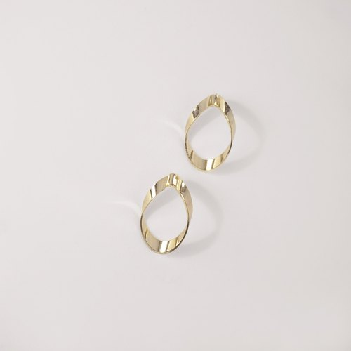 [TK] 925 sterling silver earrings - metal ribbons oval earrings (single) (small)