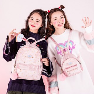 Original girl pink velvet shoulder backpack wild fresh student bag