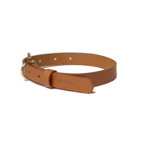 Cittadino Italian Vegetable Tanned Leather Collar - Coffee Copper