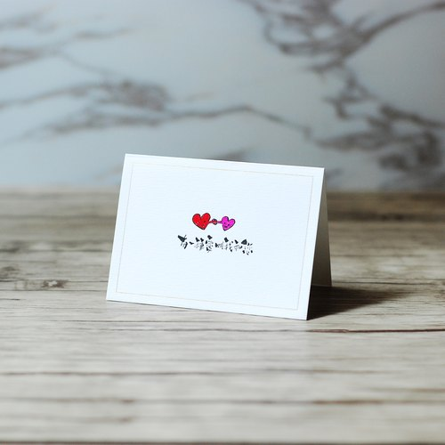 Customized - Pocket Illustration Heart Cards - Me and You