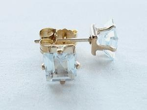 square light-bule Aquamarine ピアス