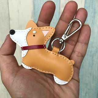 25% off Light yellow Koki dog hand-stitched leather keychain small size
