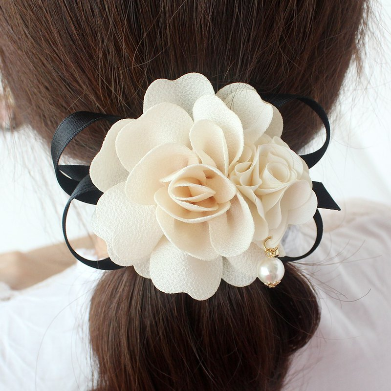 ivory beige flower ribbon ponytail holder
