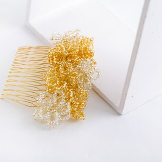 Flower beads comb (gold) S size