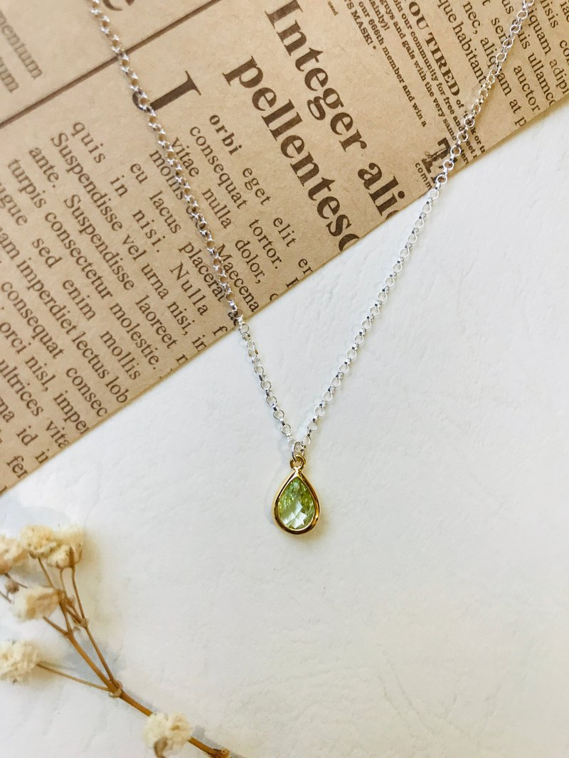 / Birthstone Series / August-Peridot 925 Silver Necklace