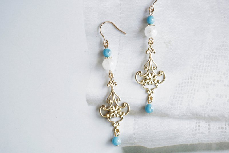 Palace style natural stone earrings │14kgf turquoise moonstone can change clip-on birthday gift