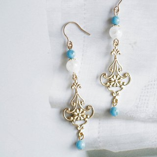 Palace style natural stone earrings │14kg turquoise moonstone can be changed