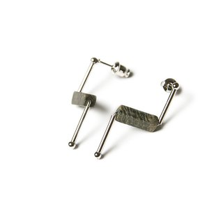 Zebra stone stud earrings - silver
