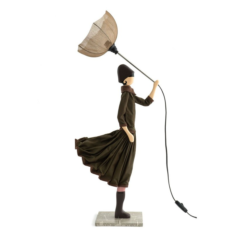 Wind Little Girl Fashionable Lamp Marron Stand Light