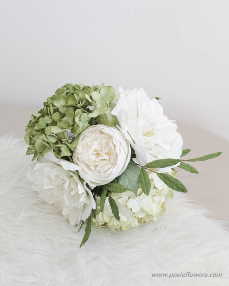 LEMON GREEN HYDRANGEA Small Flower Bouquet Handmade Paper Flowers