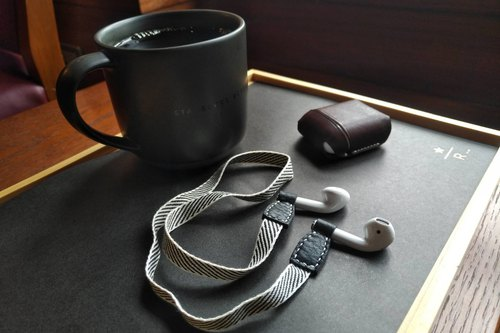 SLG Design D6 IMBL Top Leather AirPods Storage Case + Headphones Lanyard Set - Dark Brown