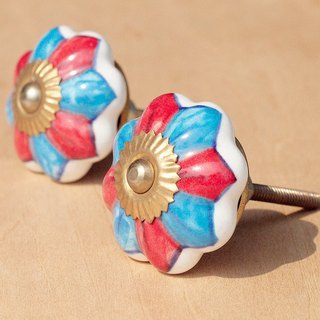 British creative gift retro hand-painted ceramic handle / ceramic doorknob / doorknob ceramic window - blue red flowers