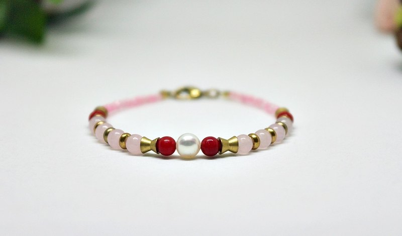 Natural stone bracelet _ x brass button Pink and white rose quartz ➪ Limited X1 # # # # # chalcedony coral #