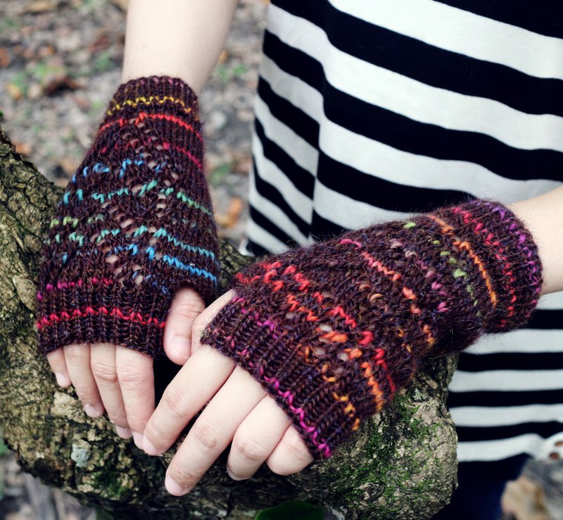 Handmade - Rainbow Love - Knitted Hand Gloves