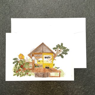 Animal mall の bird teahouse watercolor postcard