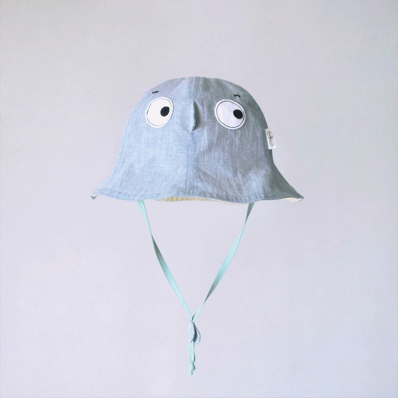 [Hide Hat - Light Denim Blue] Lightweight Washable Cotton Children Visor
