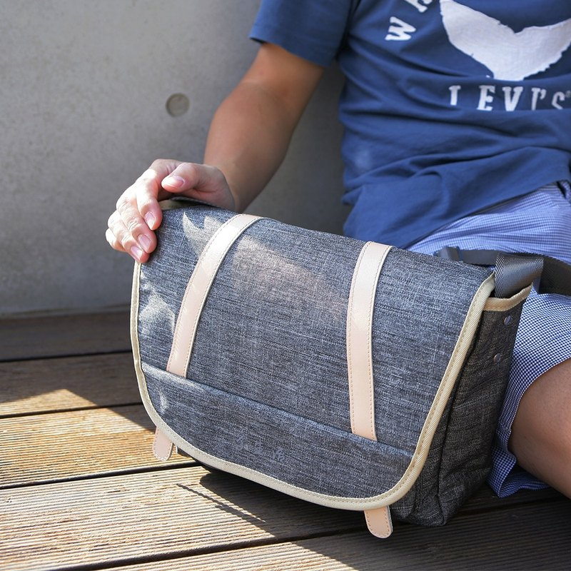 Gray Simple Recipe Slant Backpack - with a little silver texture - to share purely