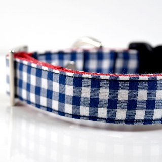 Spring Gingham Dog Collar - Navy, Blue