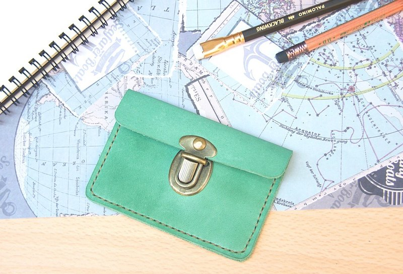 Italy leather card purse business card folder Lake green custom lettering
