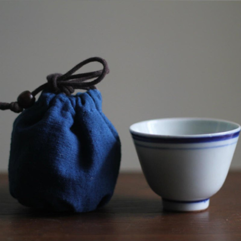 Blue old soil cloth tea ceremony accompanying storage bag bundle mouth cup bag teapot bag tea set accessories drink bag
