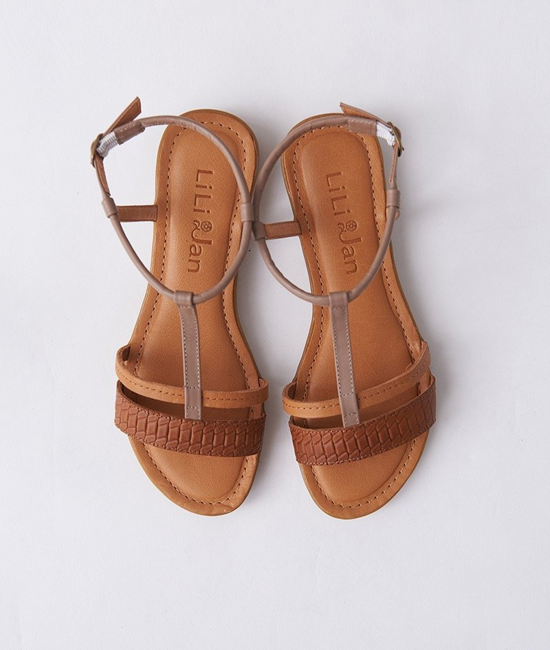 [邂逅Provence] Double T-Leather Flat Sandal_Dry Brown/Camel/Brown