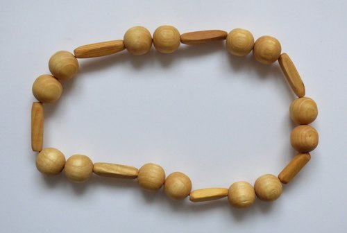 New Wood Ash Beads Hand Made Fair Trade Folk Art Stretch Unisex Necklace Size 20.5 in or 52 cm