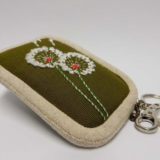 Dandelion Series - Embroidered purse - grass / edge monochrome cloth