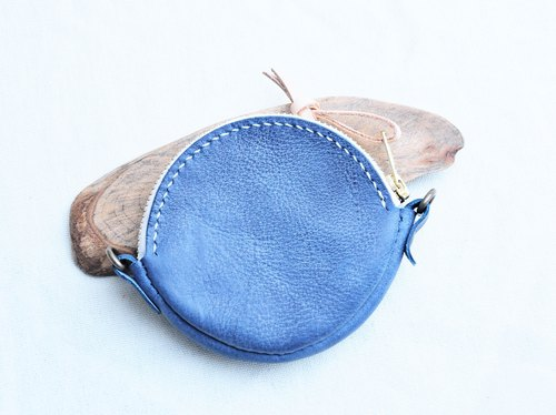 Round Lures Zipper Coin Purse - Waxing Blue WAXED DENIM Good Sewing Leather Kit Free Lettering Manual Bag Couple Gift Purse Paper Bags Simple and Practical Italian Leather Vegetable Leather Leather DIY