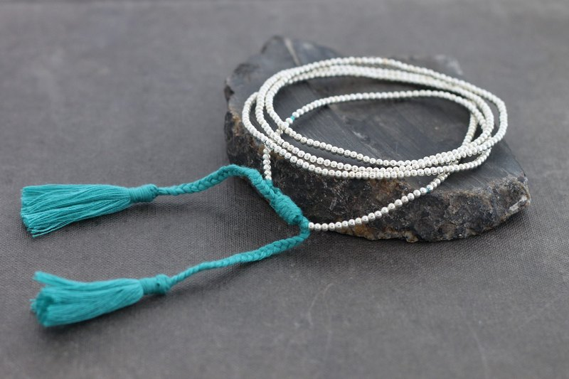 Simple Long Blue Tassel Silver Necklace Wrap Bracelet