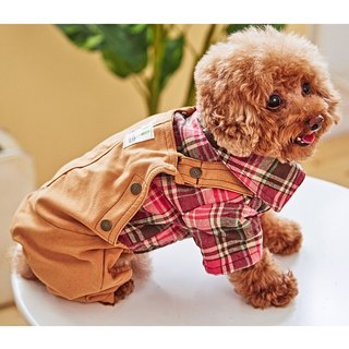 Pet clothes Two-piece checkered pants