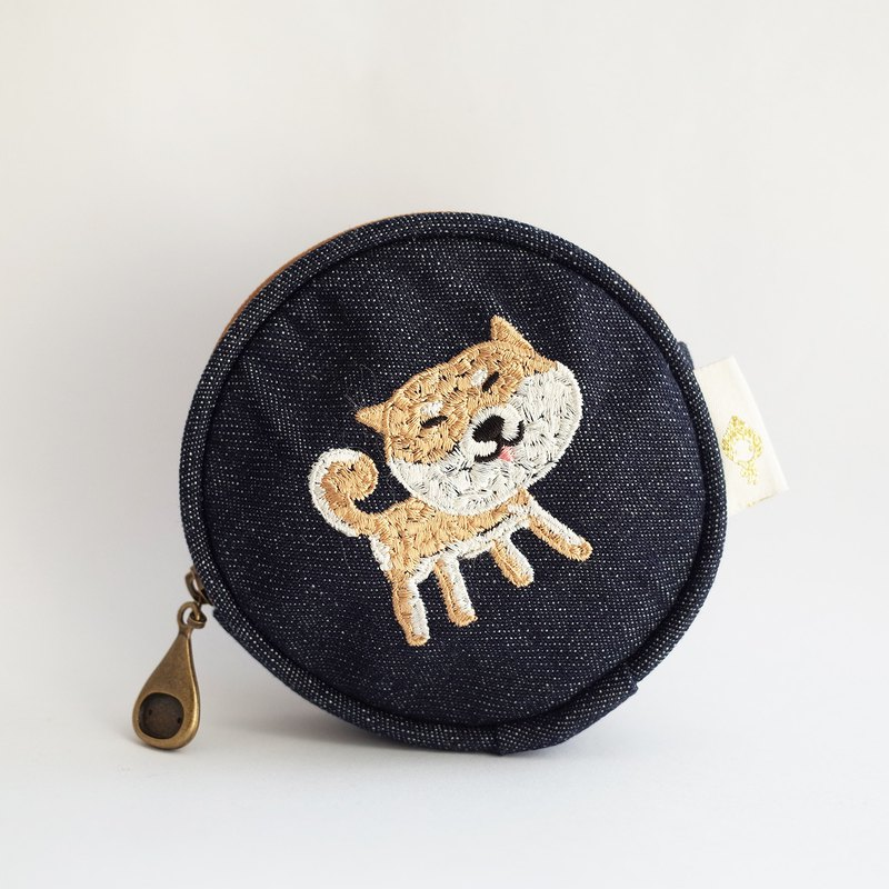 Shiba Inu _ 啾太郎 (round storage bag / monster child painting coin purse headphone cable, power cord storage)